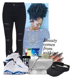"""""""Blue 6's . """" by abriannaj ❤ liked on Polyvore featuring Topshop, MICHAEL Michael Kors, Lucky Brand and NIKE"""