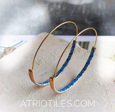 "Portugal Antique Azulejo Tile HOOP Earrings  - Hidden Treasure - Delicate 2"" - from BRAGA Blue Border! (see actual Facade photo)"