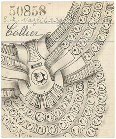 Pancarte ducollier delareine Nazli d'Égypte, 1939 - Archives Van Cleef &Arpels