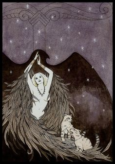 Winged Freya and her cats by Michelle Maiden. #Freya #52Goddesses