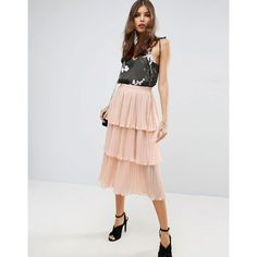 ASOS Tiered Pleated Midi Skirt (61 CAD) ❤ liked on Polyvore featuring skirts, pink, high-waisted midi skirts, elastic waist skirt, pink skirt, pleated skirt and high waisted pleated skirt