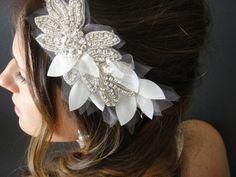Bridal Headband, Bridal Headpiece,Wedding HeadPiece, Petal Headpiece, Crystal Headband, Rhinestone Headband, Vintage Headpiece,