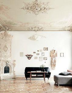 Sixties black sofa paris apartment