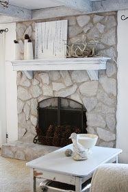 erin's art and gardens: painted stone fireplace before and after