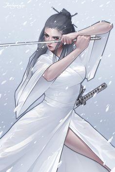 58 Ideas Digital Art Girl Warrior Swords For 2019 Ronin Samurai, Female Samurai, Samurai Art, 3d Fantasy, Fantasy Warrior, Fantasy Girl, Character Inspiration, Character Art, Character Design