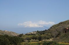 Fields of Sicily. View to Etna.