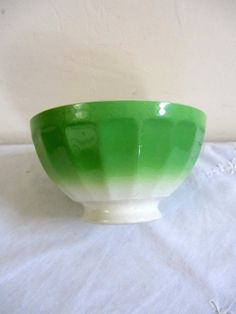 Vintage French Cafe Au Lait Bowl Green by PoitouBrocante on Etsy, $30.00