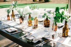 The Ranch at Laguna Beach Wedding - wine bottles table decor wedding