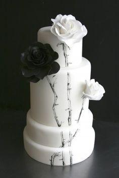 Black and White Painted Wedding Cake
