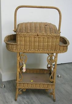 Victorian Fancy Woven Wicker Dome Lidded Sewing Stand.
