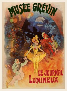 Vintage French Theater Ad Poster Musee Grevin Jules Cheret Prints canvas giclees oversize murals and Renoir, Monet, French Vintage, Vintage Art, Vintage Posters, French Posters, Jules Cheret, Poster Ads, Impressionist Art