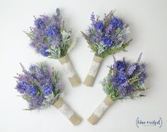 Wildflower Bridesmaid Bouquets, Lavender Bouquets, Bridesmaid Bouquet, Small Bouquet, Rustic Bouquet, Woodland Wedding Bouquet, Blue by blueorchidcreations on Etsy