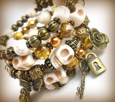 Skull Bracelet Stack Bronze Jewelry Charm Bracelet Cuff  with Skeleton Keys Locks and Roses Gift Ideas for Teenage Girls Skull Jewelry by foreverandrea on Etsy