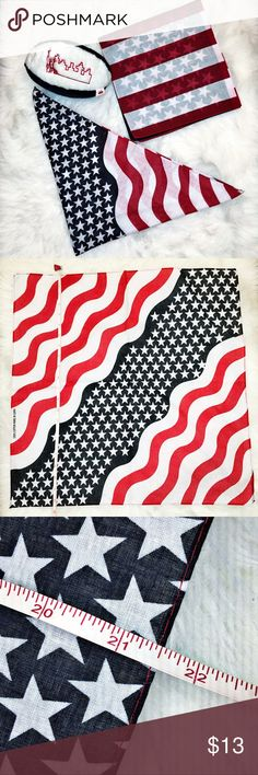 """🇺🇸 American flag bandana NWOT! Never worn, or tried on. Did use as a prop in a listing. Red, White & Blue. This is for one bandana: Red and white stripes are wavy. 21"""" x 21"""". 100% cotton. Be patriotic! Where it to tie your hair, as a scarf/choker, or even as a bracelet or to tie on a bag! Last two photos are stock. Accessories Scarves & Wraps"""