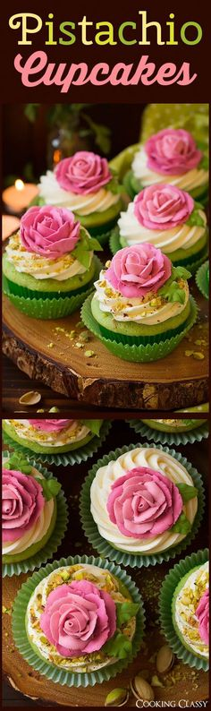 Pistachio Cupcakes - Cooking Classy individual roses on cupcakes Pistachio Cupcakes, Oreo Cupcakes, Baking Cupcakes, Cupcake Cookies, Pretty Cupcakes, Baking Cookies, Köstliche Desserts, Delicious Desserts, Dessert Recipes