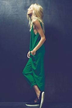 Green loose fitting jumpsuit perfect with simple slip ons