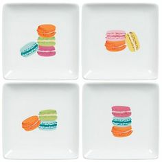 Macaron Plates - life is sweet with these delightful macaron plates! Each features a PS exclusive artwork printed on a smooth white ceramic plate. Tell her that she's sweet with this lovely hostess gift! $19.95