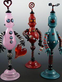 Robot Glass Scent Bottles by e.b.glassworks, via Flickr
