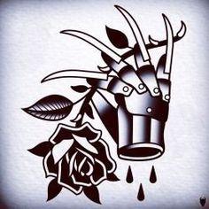 flash tattoo horror - Love this tattoo, Freddy glove and classic black rose 💚 Spooky Tattoos, Tattoos Skull, Body Art Tattoos, New Tattoos, Sleeve Tattoos, Cool Tattoos, Tatoos, Tattoo Sleeves, Freddy Krueger