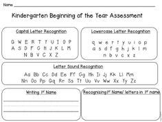 Back to School Kindergarten Assessment