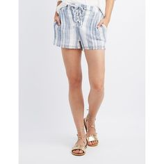 Charlotte Russe Striped Lace-Up Shorts ($12) ❤ liked on Polyvore featuring shorts, multi, laced shorts, stripe shorts, charlotte russe, lightweight shorts and linen shorts
