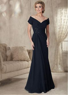 Buy discount Junoesque Chiffon Off-the-shoulder Neckline Sheath Mother Of  The Bride Dress With Beaded Lace Appliques at magbridal.co. Vestido Largo  ... 16d0dde97158