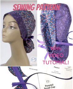 Scrub Hat Patterns, Scrub Caps, Sewing Patterns Free, Sewing Tutorials, Diy Face Mask, Face Masks, Pocket Pattern, Ponytail, Scrubs