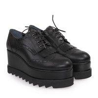 Black Oxford Women's Shoes with Platform. Γυναικεία oxford μαύρα παπούτσια με πλατφόρμα.