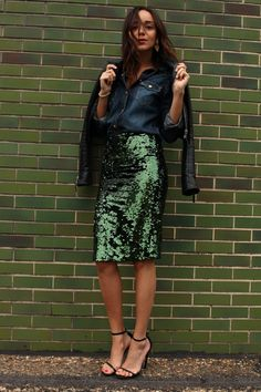 Skirt: Topshop. Denim Shirt: 7 For All Mankind. Sandals: Saint Laurent. Jacket: Balenciaga.
