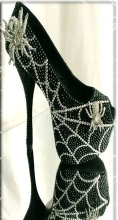 Halloween-Costuming-Goth Crystal Spider Web Peep Toe Shoes - $275.00-OR you can use rhinestones, costume jewelry and glue gun to your high heeled shoe