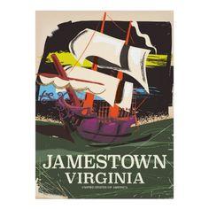 Jamestown, Virginia, vintage travel poster