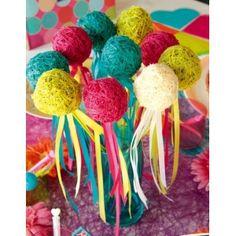 Boule en bois avec ruban satin couleur, Boule en bois sur tige de 29 cm, 6 boules en bois de 5 cm de couleur or, argent, blanc, rouge, fuschia, chocolat, turquoise, vert anis, déco anniversaire, déco de table, table festive, déco baptême, baby shower, déco naturelle, déco d'intérieur, fêtes.  http://www.baiskadreams.com/1173-boules-en-bois-avec-rubans-satin-sur-tige-les-6.html