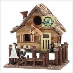 Wooden Yacht Club Bird House   Home Goods Galore