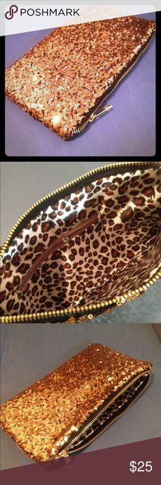 Gold sequined clutch handbag New without tags's gold sequined zippered clutch handbag with leopard print lining one large pocket with one smaller inside side pocket. Brass zipper closure.  Please see my other listings for additional sizes, styles, and colors. Gift boxes are not included. Free shipping is to the lower 48 only. Please be confident that the style, size and color are correct for you as I do not offer returns, refunds or exchanges. All sales are final. Bags Clutches & Wristlets