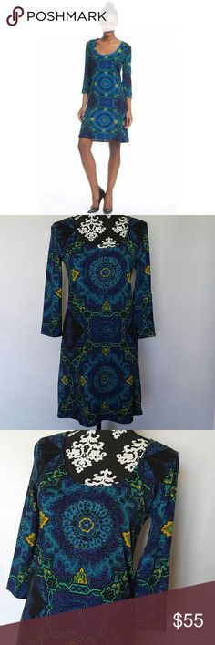 """Plenty by Tracy Reese Lisette Shift Dress Plenty by Tracy Reese """"Lisette"""" Dress? Shift dress? 3/4 sleeve? 94% polyester, 6% spandex? Green blue and yellow geometric print? Size P (petite small)? NWOT never worn?  Measurements laying flat NOT stretched:? Shoulder to shoulder: 14.5""""? Underarm to underarm: 16.5""""? Length: 34"""" Plenty by Tracy Reese Dresses"""