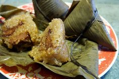 Zongzi wrapped in banana leaves