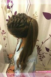 Lange Frisuren mit Zöpfen - beautiful hair styles for wedding Pretty Braided Hairstyles, Braided Ponytail, Messy Hairstyles, Wedding Hairstyles, Famous Hairstyles, Hairstyle Ideas, Hairstyle Braid, Amazing Hairstyles, Everyday Hairstyles