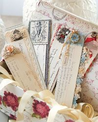 Altered Recipe Card Challenge + Where Women Cook Giveaway! Paper Tags, Diy Paper, Paper Crafts, Altered Books, Altered Art, Arabesque, Bookmark Images, Bookmark Ideas, Fabric Roses