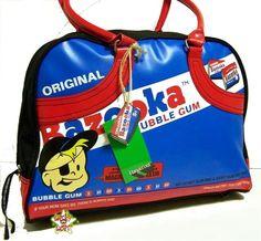 BAZOOKA JOE Official Big Bowling Bag Shoulder Gum NEW Bazooka Bubble Gum, Bowling Bags, Suitcases, Bar Lighting, Bubbles, Backpacks, Shoulder, Big, Black