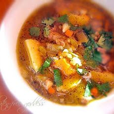 New Mexican Stew with Ground Turkey + Green Chiles Recipe with ground turkey, onion, garlic, cumin, chili powder, butternut squash, gold potatoes, carrots, green chile, chicken broth, ground pepper, lime, chopped cilantro, raw sugar