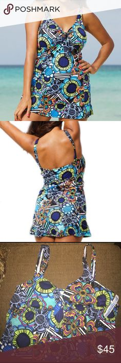 Shore Club Flower Power Tie Front Swimdress Ordered from swimsuitsforall.com  Featuring a powernet panel to flatten your abdomen and built-in bra cups for support, this Shore Club plus-size swimdress highlights your figure. A tie-front sweetheart neckline and a hip skimming skirt complete the design.  -Fits up to a D/DD -Fits true to size  -Empire waist  *Hygienic liner is lifting from being stored  Open to offers (Also on Ⓜ️ercari) torrid Swim One Pieces