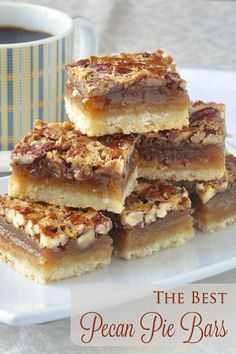 The Best Pecan Pie Bars - this easy recipe includes a simple shortbread bottom and a one bowl mix and pour topping. Tips for baking and cutting them are included.