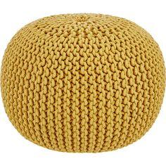 small mustard knitted pouf tk maxx