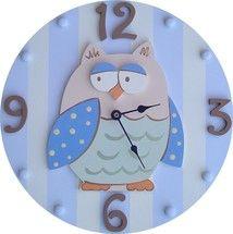 Blue Owl Wall Clock by Wish Upon A Star, Clocks, Decor for Boys Owl Themed Nursery, Owl Nursery, Nursery Wall Decals, Nursery Decor, Baby Decor, Kids Decor, Novelty Clocks, Owl Clock, Clock For Kids