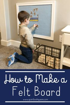 Learn how to make a felt board that can hang on the wall and one for laps and travel! Felt naturally sticks to felt, and it's a great screen free activity for toddlers, preschoolers, and even kids in elementary school! You can retell stories, create your Toddler Play, Toddler Preschool, Toddler Crafts, Toddler Learning Games, Diy Preschool Toys, Baby Play, Felt Board Stories, Felt Stories, Flannel Board Stories