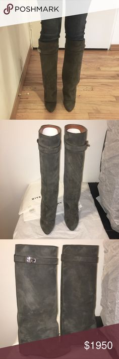 GIVENCHY KHAKI SHARK-LOCK SUEDE BOOTS SIZE 38 100% AUTHENTIC • NO TRADES   The color is called khaki but it's more of a gray color. Great boots. Not sure if those are scratches or if the suede just needs to be brushed. Comes with dust-bag only. No box. Had a rubber sole added as seen in picture before I wore the boots. Givenchy Shoes Heeled Boots
