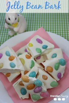 Jelly Bean Bark Recipe. Super easy Easter treat. Would be so cute bagged up as little favors or gifts.