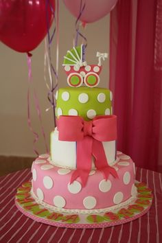 This is the CUTEST little girl cake! And it is Audrey's colors!
