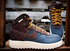 Nike Air Force 1 High Duckboot - Blue & Brown | KicksOnFire