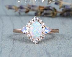 HANDMADE RINGS & BRIDAL SETS by MoissaniteRings on Etsy Moonstone Ring, Opal Rings, Gold Rings, Opal Jewelry, Fine Jewelry, Bridal Ring Sets, Handmade Rings, Natural Opal, White Opal